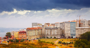 Dwelling houses at seafront in A Coruna. Spain Stock Photos