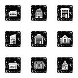 Dwelling icons set, grunge style Royalty Free Stock Photo