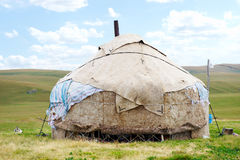 Dwelling of the nomad in mountains of Kazakhstan Royalty Free Stock Image