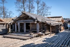 Dwelling site. The Āraiši lake dwelling site Stock Image