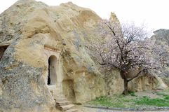 The dwellings of the first Christians in the rocks, Cappadocia, Central Turkey. Cappadocia is characterized by an extremely interesting volcanic landscape Stock Photos