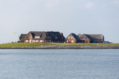 Dwellings on Hallig Langeness Stock Photos