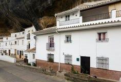 Dwellings houses built into rock. Setenil de las Bodegas Stock Photos