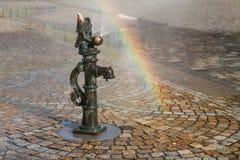 Dwerg op een fontein in Rynek Wroclaw Royalty-vrije Stock Afbeelding