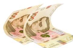Dwieście hryvnia rachunków na białym tle zdjęcie stock