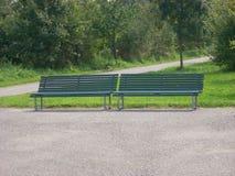 dwie ławki parku Fotografia Royalty Free