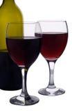 dwie czerwone wino szkła Fotografia Royalty Free