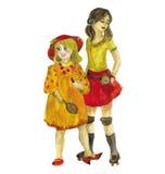 dwie dziewczyny akwarela Obrazy Royalty Free
