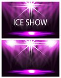 dwie karty Inskrypcja jest lodowym przedstawieniem Sceny oświetlenie, podium, światła reflektorów Confetti lata Purpurowy tło royalty ilustracja