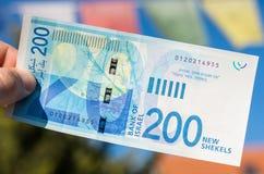 Dwieście shakel izraelski nowy rachunek Fotografia Stock