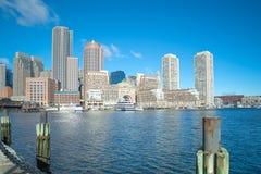 Dwntown Boston skyline. Boston downtown skyline city view in early morning royalty free stock photos