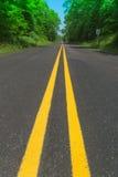 Dwoista żółta linia Zdjęcia Stock