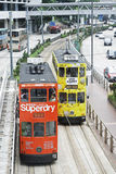 Dwoistego decker tramwaje ulubeni sposoby transpotation Hong Kong zdjęcia royalty free