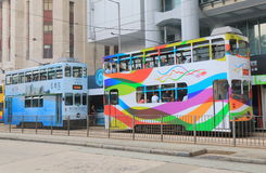 Dwoistego decker tramwajowy transport publiczny Hong Kong fotografia royalty free