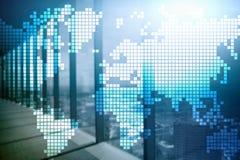 Dwoistego ujawnienia światowa mapa na drapacza chmur tle Komunikacyjnego i globalnego biznesu pojęcie fotografia royalty free