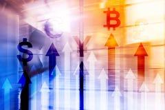 Dwoistego ujawnienia biznes i pieniężny pojęcie Waluta przyrosta strzała Akcyjny handel i rynki walutowi zdjęcia royalty free