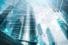 Dwoistego ujawnienia mieszani środki 3D ziemi planety hologram i komunikacyjna struktura Światowy sieci i globalizacja pojęcie zdjęcie stock