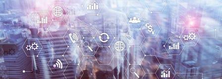 Dwoistego ujawnienia mieszani środki Diagramy i ikony na holograma ekranie Ludzie biznesu i nowożytny miasto na tle Zdjęcia Stock
