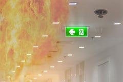 dwoistego ujawnienia zieleni wyjście ewakuacyjne podpisuje wewnątrz szpitalnego pokazuje th obrazy stock