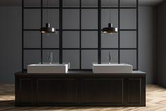 Dwoisty łazienka zlew, ciemny drewno ilustracji
