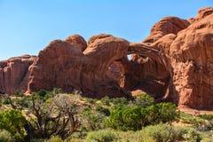 Dwoisty łuk w łukach parki narodowi, Moab Utah usa Zdjęcia Royalty Free