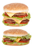 dwoisty cheeseburger fast food Obraz Royalty Free
