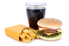 Dwoisty cheeseburger francuza i hamburgeru dłoniaków menu posiłek combo c Fotografia Stock