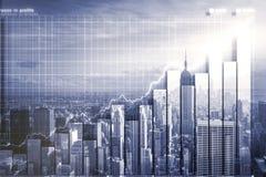 Dwoisty explosure z biznesową mapą i linią horyzontu ilustracji