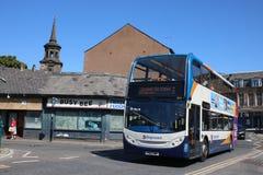 Dwoisty pokładu Stagecoach autobus, Lancaster przystanek autobusowy obrazy stock