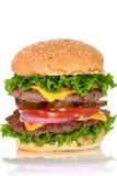 Dwoisty serowy hamburger Zdjęcie Royalty Free