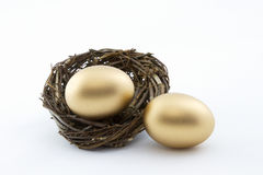Dwoisty szczęsliwy sukces w złocistych gniazdowych jajkach Fotografia Stock