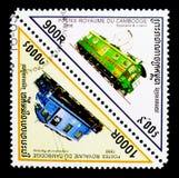 Dwoisty trójboka postmark lokomotywy seria około 1998, fotografia royalty free