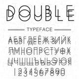 Dwoisty typeface, chrzcielnica robić doublescript nowożytnych listów Sansserif rosyjskim abecadłem royalty ilustracja