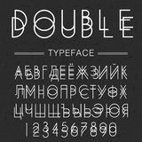 Dwoisty typeface, chrzcielnica robić doublescript nowożytnych listów Sansserif rosyjskim abecadłem Obrazy Royalty Free