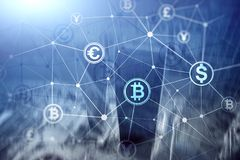 Dwoisty ujawnienie Bitcoin i blockchain pojęcie Cyfrowej gospodarka i waluta handel ilustracji
