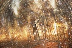 Dwoisty ujawnienie drzewa przy drewnami i cięcie drzewnym bagażnikiem w kontekście niebieskie chmury odpowiadają trawy zielone ni Fotografia Royalty Free