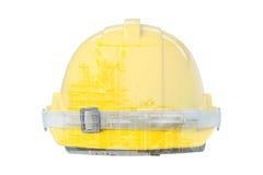 Dwoisty ujawnienie Frontowy widok Żółty Zbawczy hełm Fotografia Royalty Free