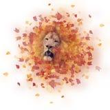 Dwoisty ujawnienie lew głowa i jesień liście obraz royalty free
