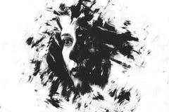 Dwoisty ujawnienie młoda dziewczyna kreatywnie portret Sztuka Dramatyczna Zdjęcia Stock
