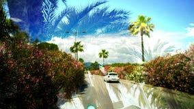 Dwoisty ujawnienie palmy i samochodowy jeżdżenie na drodze, wspominki od lata my potykamy się Zdjęcia Stock