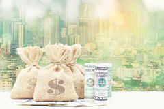 Dwoisty ujawnienie pieniądze torba z banknotem na naturalnej zieleni z powrotem obrazy stock