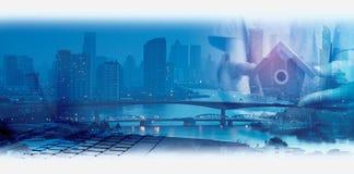 Dwoisty ujawnienie sieci, miasta i sieci związek conc Zdjęcie Stock