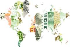 Dwoisty ujawnienie z światową mapą, Juan, rubel, euro i dolar, Fotografia Royalty Free