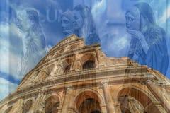 Dwoisty ujawnienie z fisheye widokiem na zewnątrz Colosseum, Rzym, I Zdjęcia Royalty Free