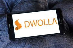 Dwolla payment company logo. Logo of Dwolla payment company on samsung mobile. Dwolla is a United States-only e-commerce company that provides an online payment Royalty Free Stock Photography