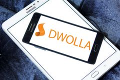 Dwolla payment company logo. Logo of Dwolla payment company on samsung mobile. Dwolla is a United States-only e-commerce company that provides an online payment Stock Photos