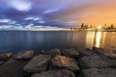 Dwubarwny niebo podczas wschodu słońca Obrazy Royalty Free