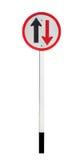 Dwudrogowy ruchu drogowego znak na białym tle Obraz Royalty Free