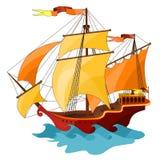 Dwumasztowy żeglowanie statek. ilustracja wektor