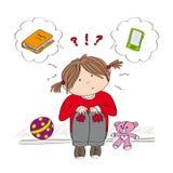 Dwuznaczna mała dziewczynka próbuje decydować co jest lepszy ilustracji